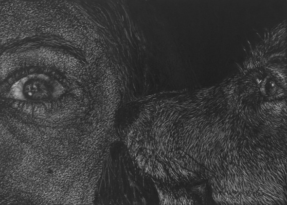 "Laurie and Mia, scratchboard, 5""H x 7""W"
