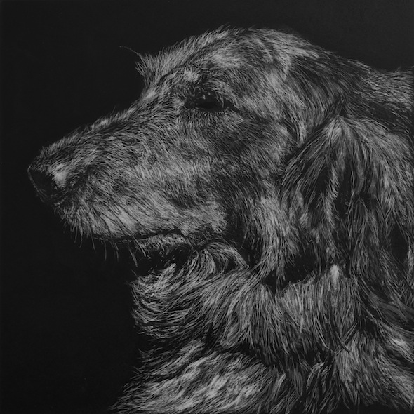 "Nikki in Profile, scratchboard, 6"" x 6"""