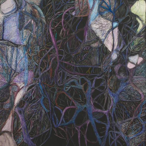 """Running Through the Neuron Forest, scratchboard and ink, 8"""" x 8"""", 2015"""