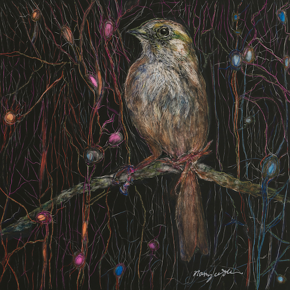 """The Little Bird That Paused Among the Neurons, scratchboard and ink, 5"""" x 5"""", 2015"""