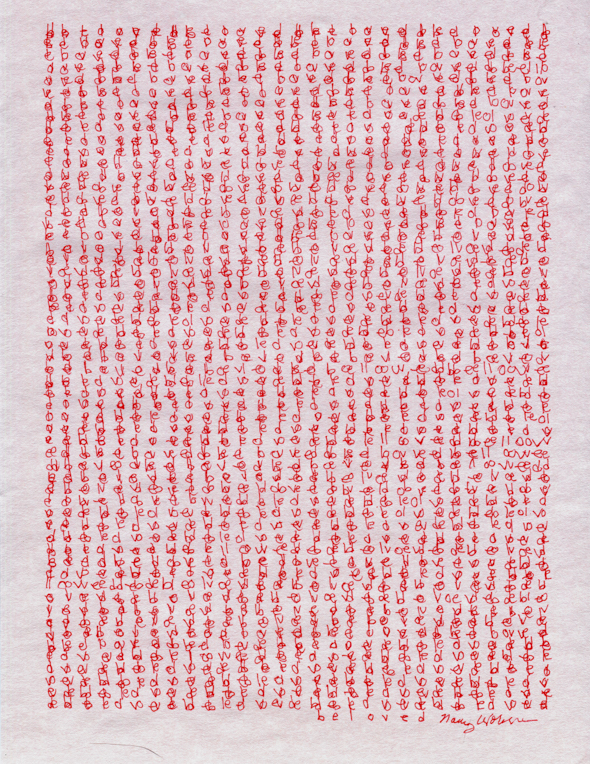 """Beloved, red ink on pale  pink parchment paper, 11"""" x 8.5"""", 2016"""