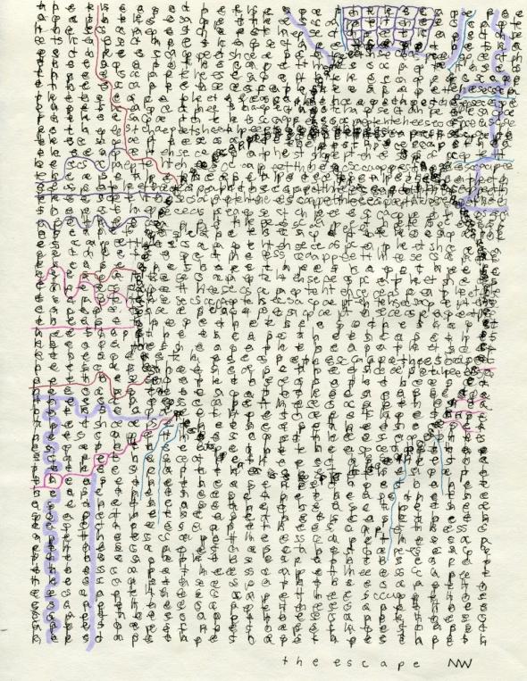 """The Escape, ink on parchment paper, 11"""" x 8.5"""", 2016"""